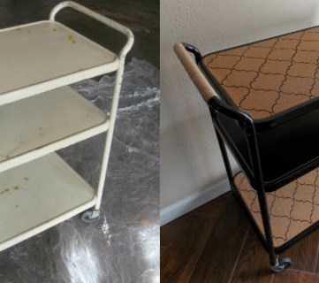 From Salvaged Metal Cart To Swanky Bar Cart
