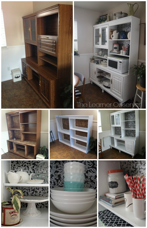 Before and After: 80's Wall Unit to White Kitchen Hutch, The Learner Observer featured on Remodelaholic.com #beforeandafter #kitchenhutch #storage