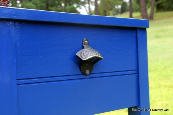 bottle opener on sewing cabinet drink station, The Weekend Country Girl featured on Remodelaholic
