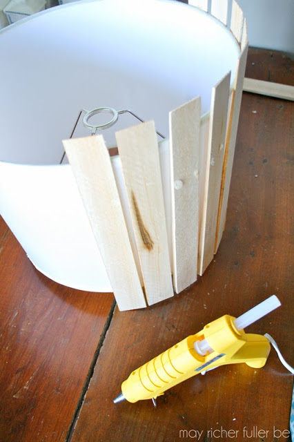 hot glue wood shims to drum shade to make pendant lamp, May Richer Fuller Be featured on Remodelaholic