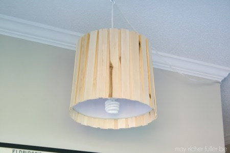 how to hang pendant lamp made with wood shims, May Richer Fuller Be featured on Remodelaholic