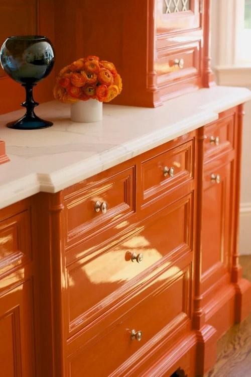 orange lacquer cabinets