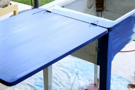 sewing cabinet painted sailboat blue, The Weekend Country Girl featured on Remodelaholic