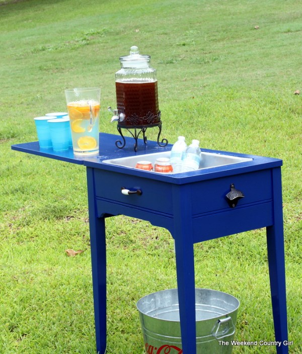 turn a sewing table into a drink station, The Weekend Country Girl featured on Remodelaholic