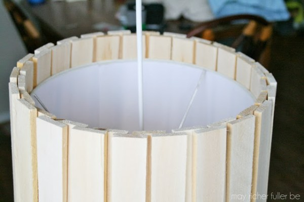 two layers of wood shims on drum shade pendant lamp, May Richer Fuller Be featured on Remodelaholic
