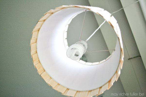 wood shim pendant lamp, May Richer Fuller Be featured on Remodelaholic