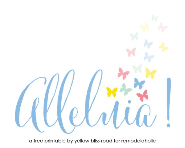 Alleluia Easter Printable by Yellow Bliss Road for Remodelaholic