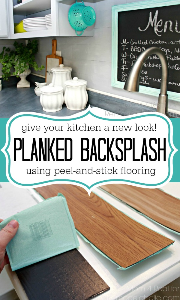 Remodelaholic Diy Plank Backsplash Using Peel And Stick Vinyl Flooring