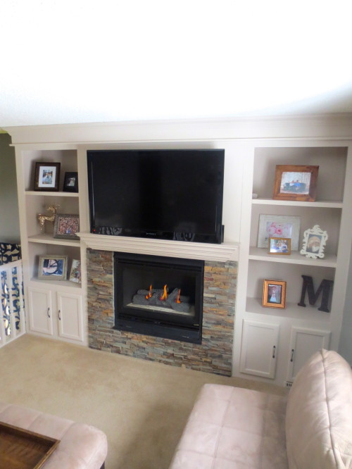built-in shelving around a fireplace remodel, construction2style on Remodelaholic