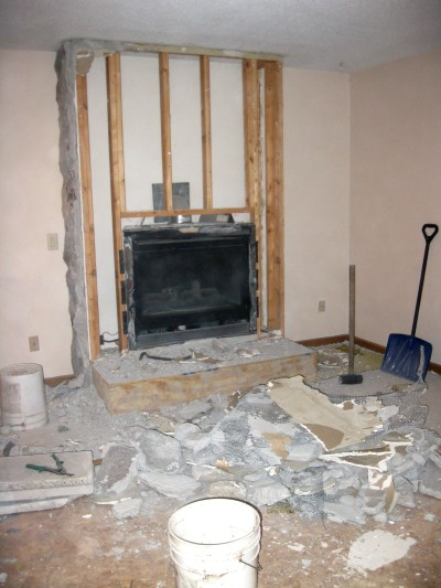 demo the fireplace, construction2style on Remodelaholic