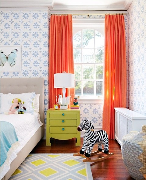 orange yellow and blue room