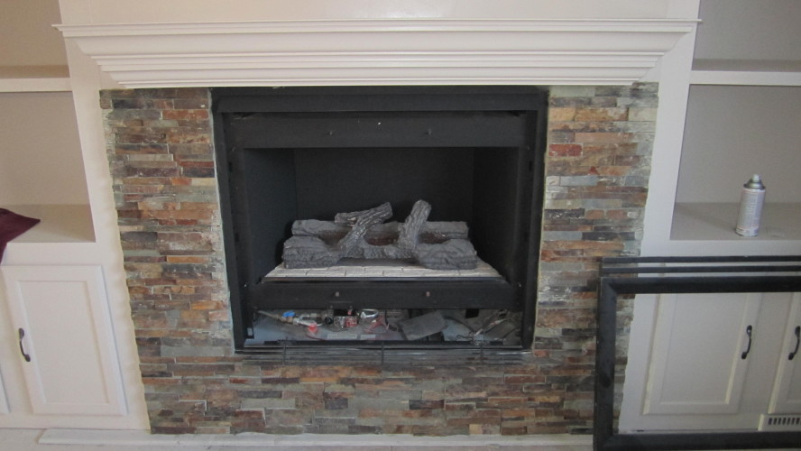 fireplace makeover with built in shelves