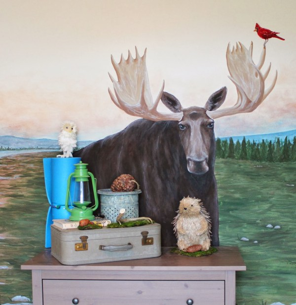 woodland themed kids room with moose mural, The Ragged Wren on Remodelaholic