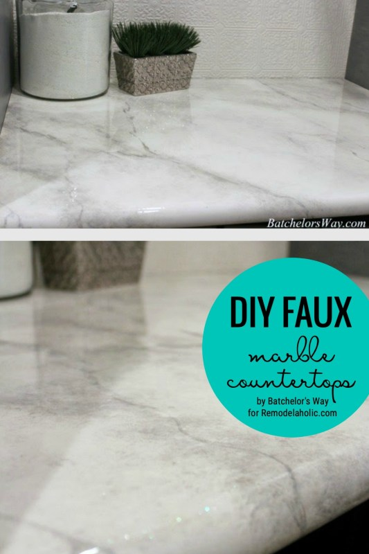 DIY Faux Marble Counterops By Batchelor's Way For Remodelaholic.com