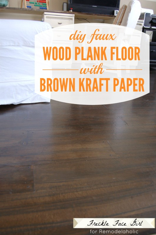 DIY faux wood plank floor using brown kraft paper Freckle Face Girl for Remodelaholic