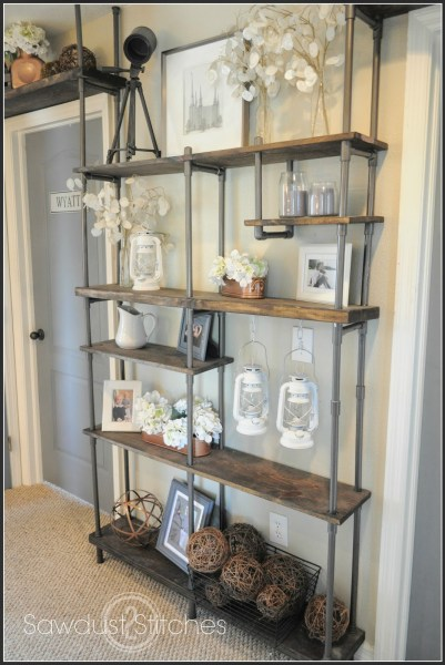 DIY industrial shelf built with PVC pipe, Sawdust 2 Stitches on Remodelaholic
