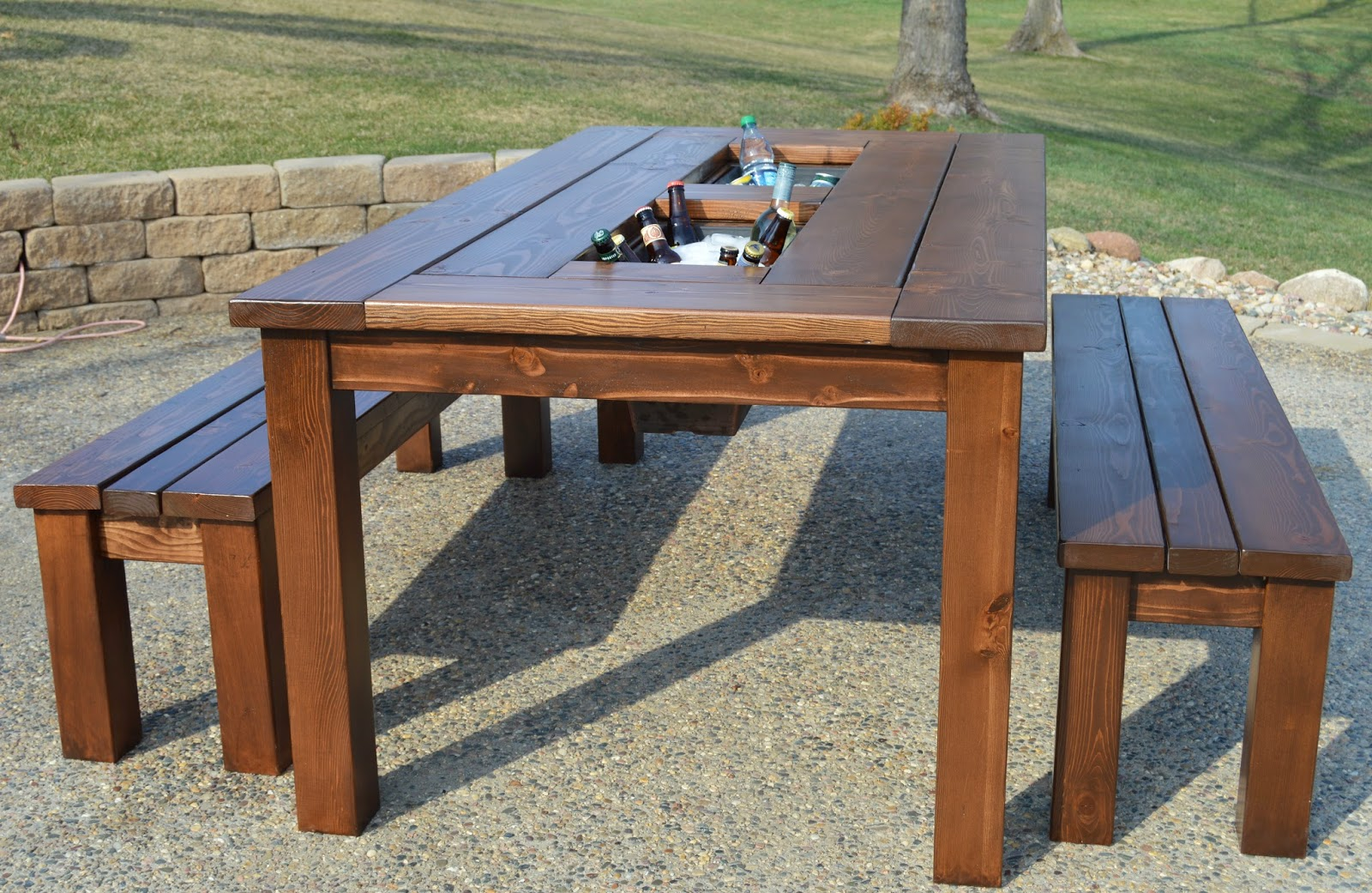 remodelaholic build a patio table with built in ice boxes rh remodelaholic com homemade patio table top homemade patio table top