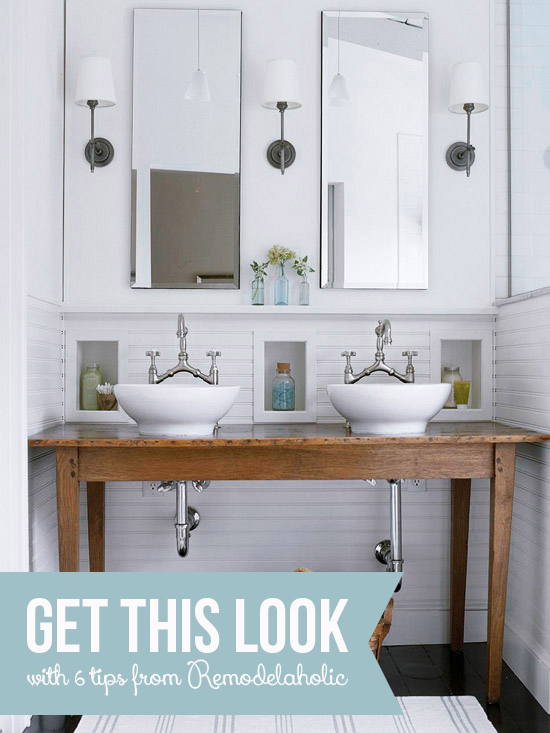 White Bathroom with Built-In Wall Storage | Remodelaholic.com
