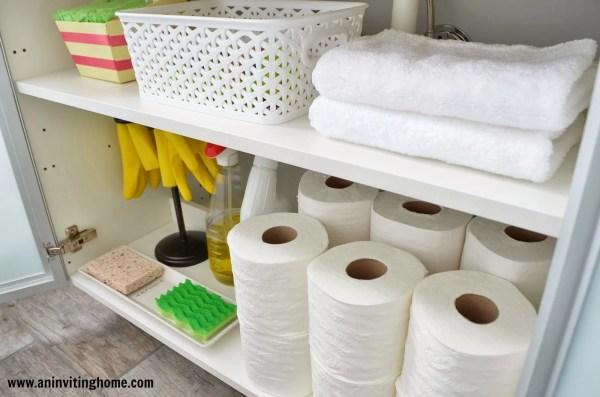 IKEA vanity inside storage, An Inviting Home on Remodelaholic