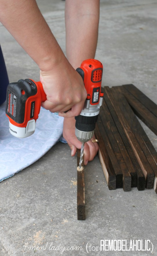 drilling holes for wooden stake door mat