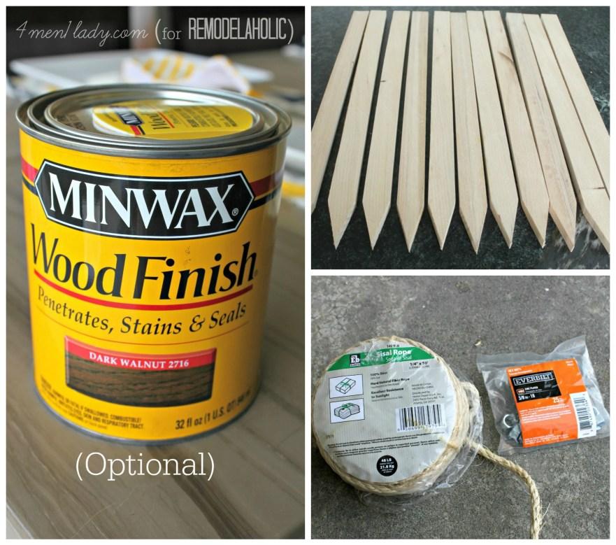 Supplies needed for wood stake door mat