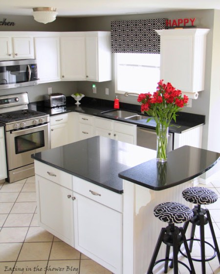 black and white kitchen remodel, Eating in the Shower on Remodelaholic