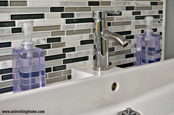 glass tile backsplash and IKEA trough sink, An Inviting Home on Remodelaholic
