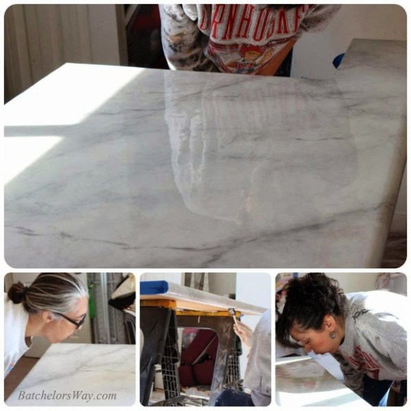 glossy faux marble countertop tutorial, Batchelors Way on Remodelaholic