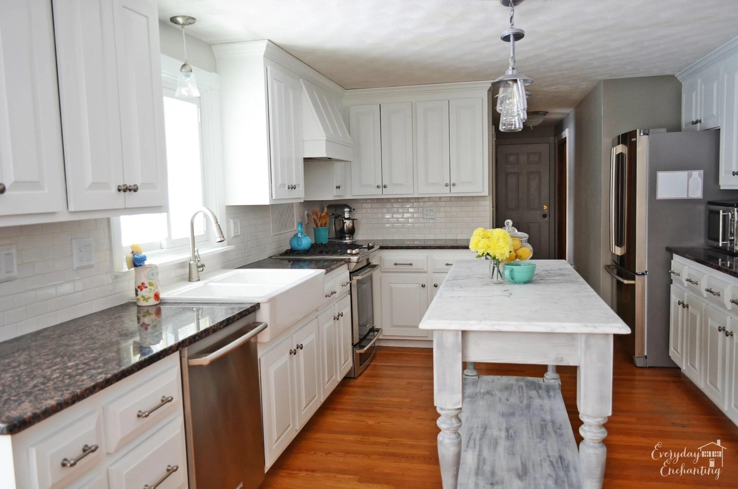 Bon Marble Kitchen Island In White Kitchen, Everyday Enchanting On Remodelaholic