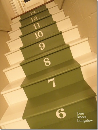 painted numbered stairs, Bees Knees Bungalow on Remodelaholic