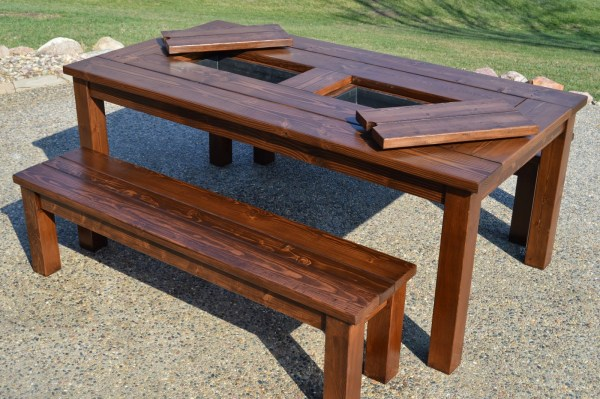 DIY Outdoor Furniture Woodworking Plans: Patio Table with Drink Coolers