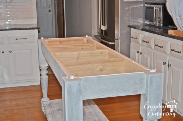 stained kitchen island base, Everyday Enchanting on Remodelaholic
