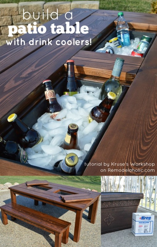 top DIY Patio Table with Drink Coolers @Remodelaholic