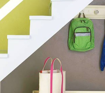 Get This Look: Small Space Mudroom Under the Stairs