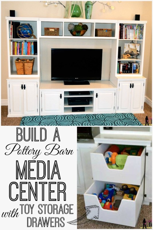 Build a media center with toy storage drawers | Her Tool Belt on Remodelaholic.com