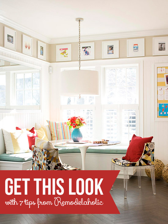 Tips for a Corner Banquette and Art Gallery from Remodelaholic.com #getthislook