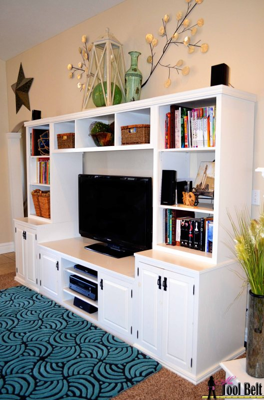 How to build a Pottery Barn inspired media center with toy storage, Her Tool Belt on Remodelaholic