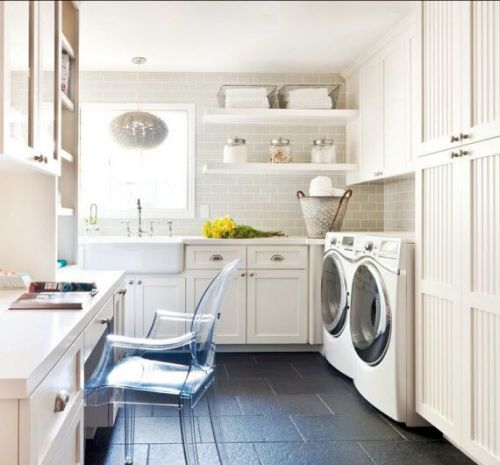Large scale craft room and laundry room featured on Remodelaholic.com