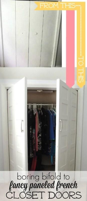 Update bifold doors to paneled french doors | Wife in Progress on Remodelaholic.com