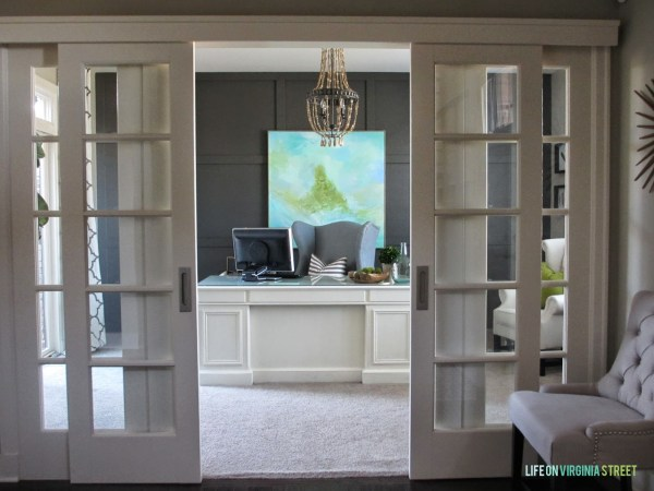 beautiful home office with board and batten and wood bead chandelier, Life on Virginia Street on Remodelaholic