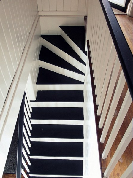 black and white painted staircase makeover, Chapter37 on Remodelaholic