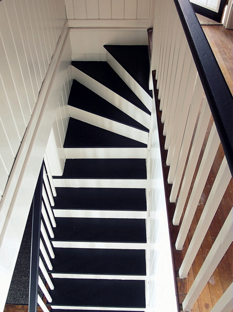 black and white painted staircase makeover, Chapter37 on Remodelaholic.com