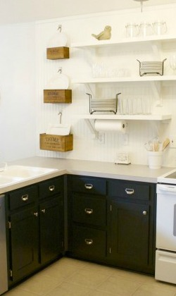 black painted cabinets with open white shelving