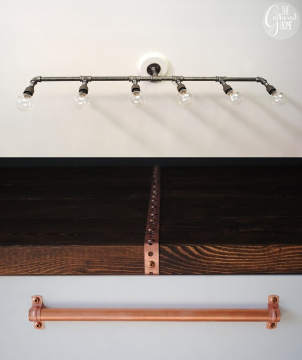 diy industrial plumbing pipe light fixture, The Gathered Home on Remodelaholic