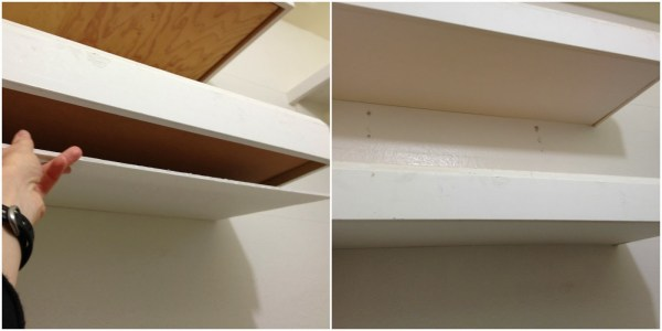 foam core on the bottom of floating shelves in master closet, My Love 2 Create on Remodelaholic