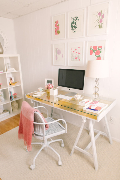 home office with gilded gold desk, Style Me Pretty