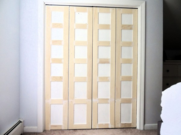 how to update flat closet doors to paneled french doors 3, Wife in Progress on Remodelaholic