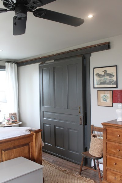 master closet with sliding barn door on Remodelaholic.com