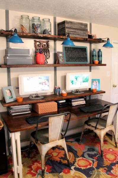 organized home office with easy DIY rustic shelves, Remodelaholic