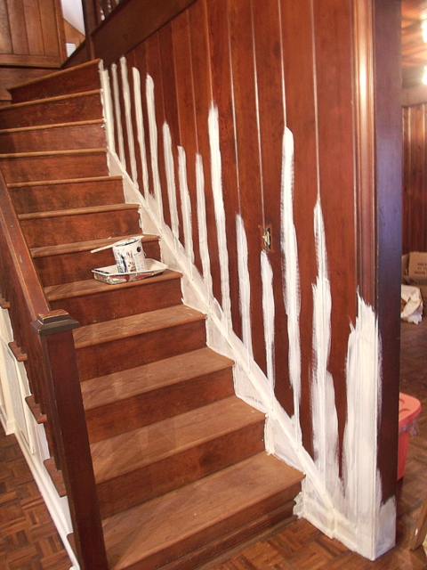 priming the stairs to paint, Chapter37 on Remodelaholic